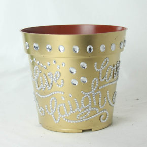 Spraypainted Pot with Bedazzles